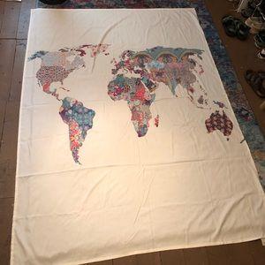 Wall Art - Cream World Map Tapestry